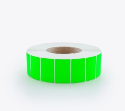 SELF ADHESIVE LABEL ROLLS, FLUORESCENT GREEN, 50x30mm, 4000 labels