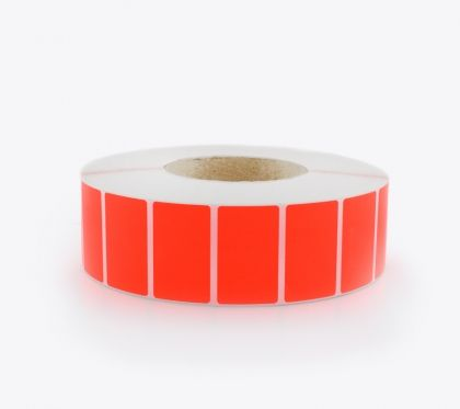 SELF ADHESIVE LABEL ROLLS, FLUORESCENT RED, 50x30mm, 4000 labels
